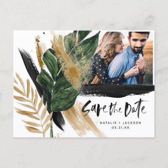Modern tropical abstract painted wedding photo announcement