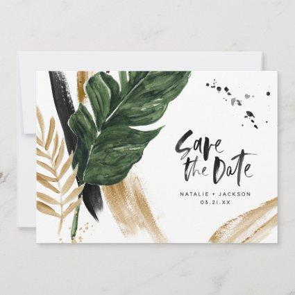 Modern tropical abstract painted wedding photo save the date