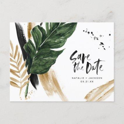 Modern tropical abstract painted wedding save the announcement