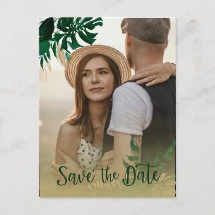 Modern Tropical Leaves Photo Wedding Save the Date Announcement