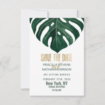 Modern Tropical Swiss Cheese Leaf Gold Wedding Save The Date