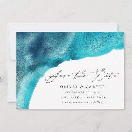 Modern Turquoise Blue Watercolor Waves Save The Date