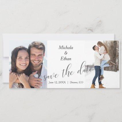 Modern Two Photo Save the Date Wedding Announcement
