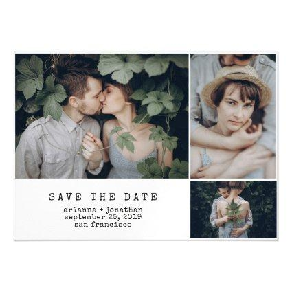 Modern Typewriter | 3 Photo Save the Date Magnetic Invitation