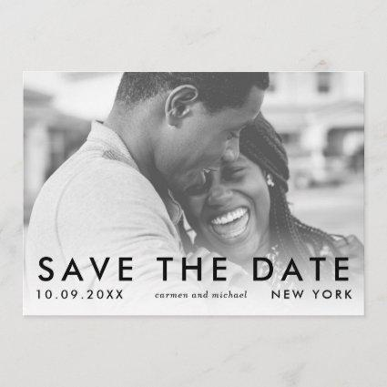 Modern Typographic Save the Date Photo Card