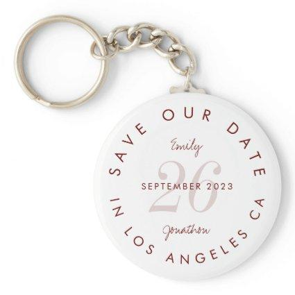 Modern Typography Burgundy Save The date Keychain