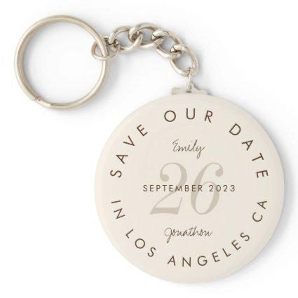 Modern typography Cream Brown Save The Date Keychain