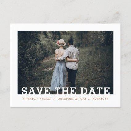Modern Typography Photo Overlay Save the Date Announcement