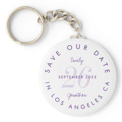 Modern Typography Purple Lilac Save The date Keychain