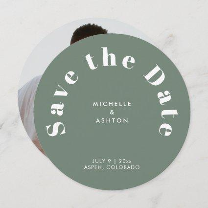 Modern Typography Round Circle Sage Green Save The Date