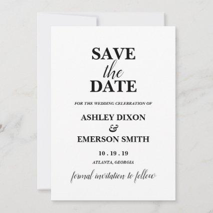 Modern Typography Save the Date Announcement Card