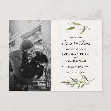 Modern Watercolor Green Olive Branch Announcement