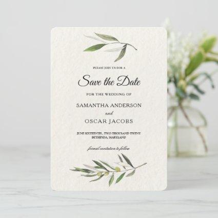 Modern Watercolor Green Olive Branch Save The Date