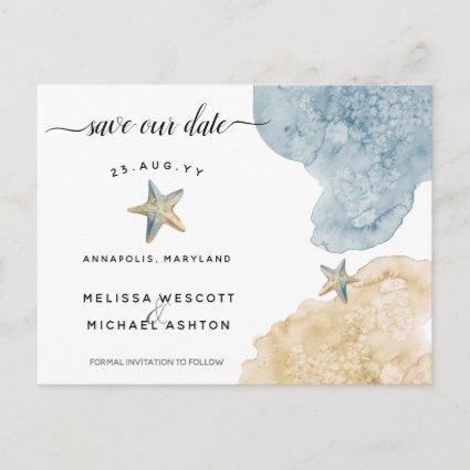 Modern Watercolor Starfish Coastal Save Our Date Announcement