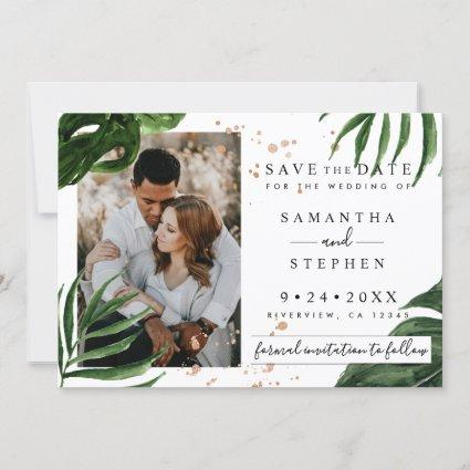 Modern Watercolor Tropical Leaves & Copper Wedding Save The Date