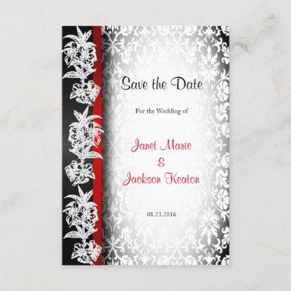Modern Wedding Damask in White, Black and Red Save The Date