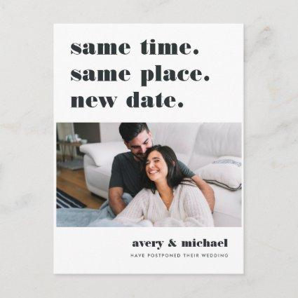 Modern Wedding Postponement Photo Save The Date Announcement