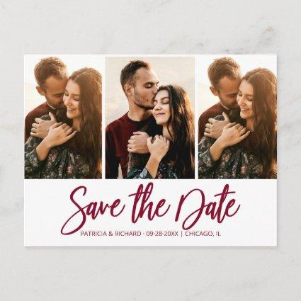Modern Wedding Save The Date 3 Photo Collage