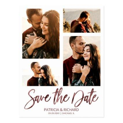 Modern Wedding Save The Date 4 Photo Collage