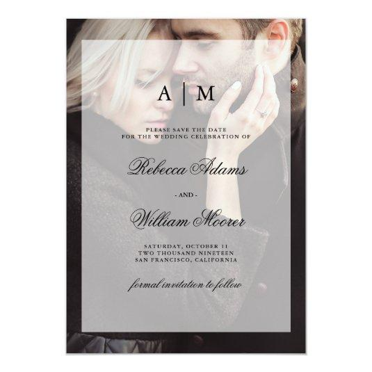Modern Wedding Save the Date | Photo with Overlay Card