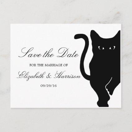 Modern Whimsical Black Cat Wedding Save The Date Announcement