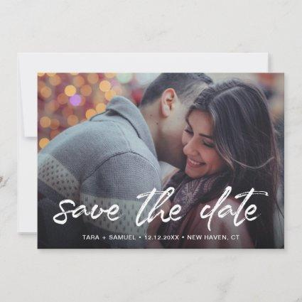 Modern White Brush Script Handwriting Photo Save The Date