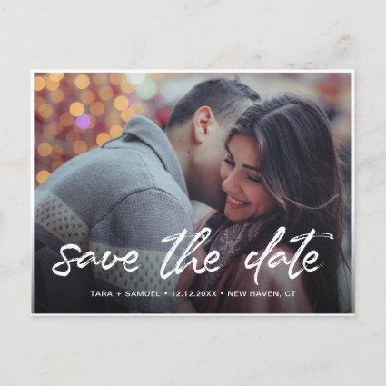 Modern White Brush Script Photo Save the Date Announcement