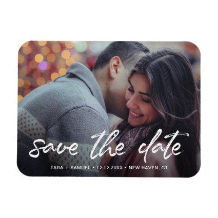 Modern White Brush Script Photo Save the Date Magnet