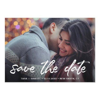 Modern White Brush Script Photo Save the Date Magnetic Invitation