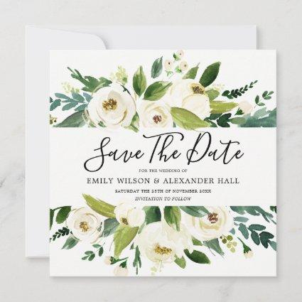 Modern White Cream Champagne Floral Wedding Save The Date