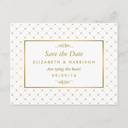 Modern White & Gold Foil Effect Save The Date Announcement
