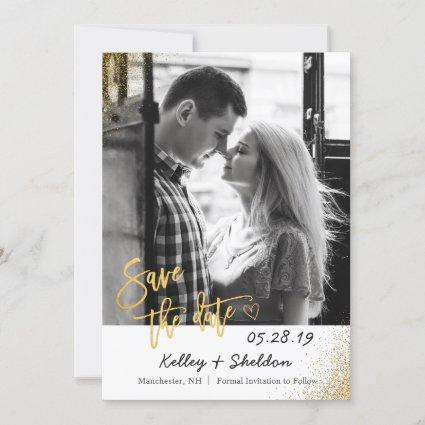 Modern White & Gold Wedding Save The Date Photo