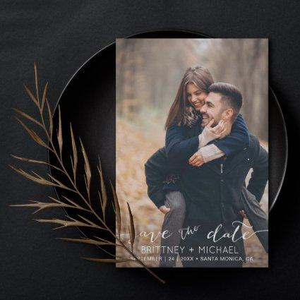 Modern White Hand-Lettered Photo Save The Date