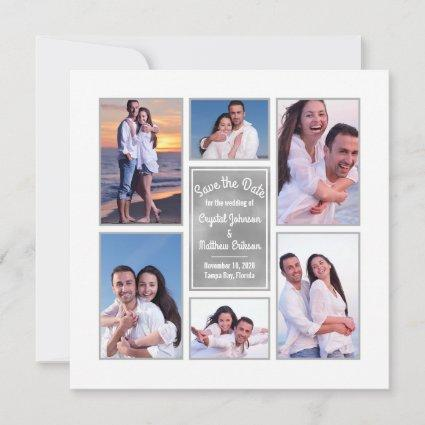 Modern White Instagram Photo Collage Save the Date