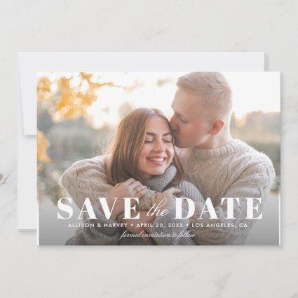 Modern white lettering save the date card