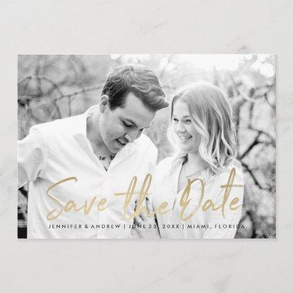 Modern White Marble Gold Script | Save The Date