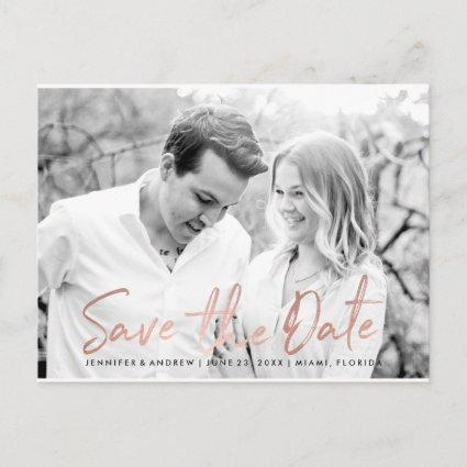 Modern White Marble Rose Gold Script Save The Date Announcement