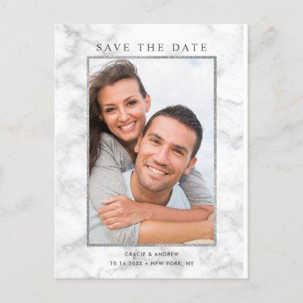 Modern White Marble Save the Date Photo Announcement