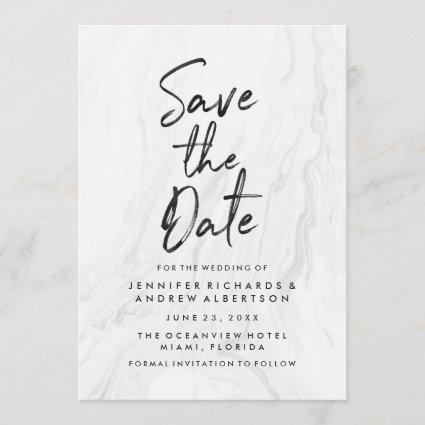 Modern White Marble Script | Save The Date