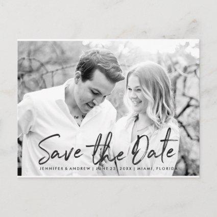 Modern White Marble Script | Save The Date Announcements Cards