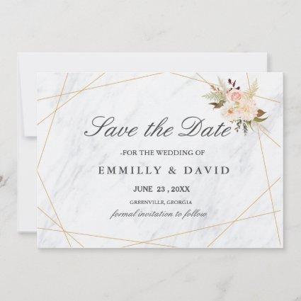 Modern White Marble With Pastel Flowers Save The Date