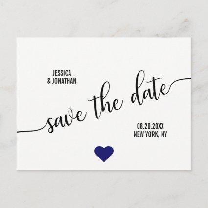 Modern White Navy Blue Heart Wedding SAVE THE DATE Announcements Cards