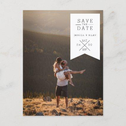 Modern White Ribbon | Save The Date Photo Announcement