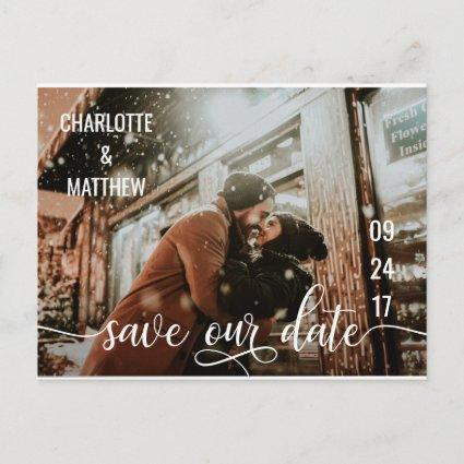 Modern White Script Wedding SAVE OUR DATE w/ PHOTO Announcements Cards