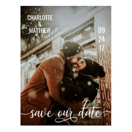 Modern White Script Wedding SAVE OUR DATE w/ PHOTO Cards