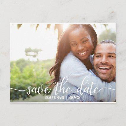 Modern White Script Wedding SAVE THE DATE | PHOTO Announcements Cards
