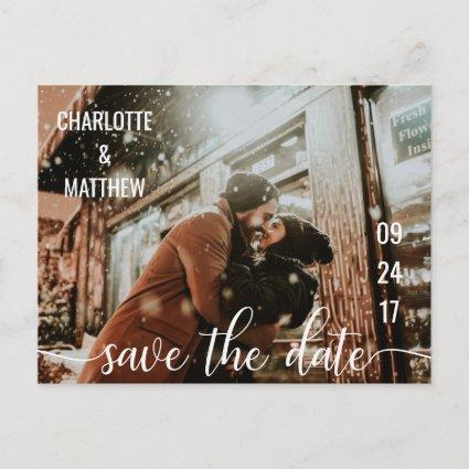 Modern White Script Wedding Save The Date w/ PHOTO Announcements Cards
