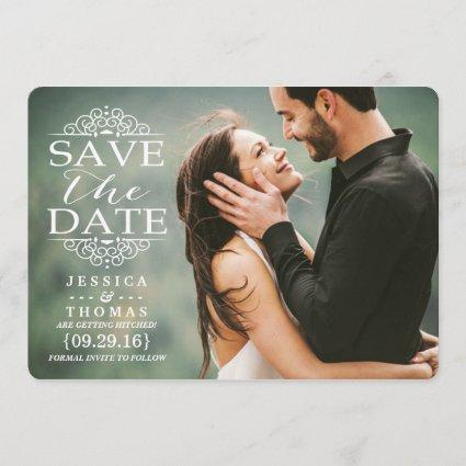 Modern White Swirls | Custom Photo Save The Date