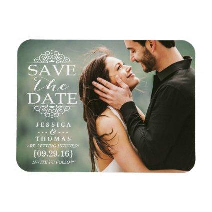 Modern White Swirls | Custom Photo Save The Date Magnet