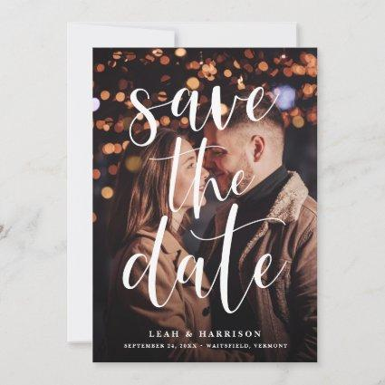 Modern White Text Overlay Photo Save The Date
